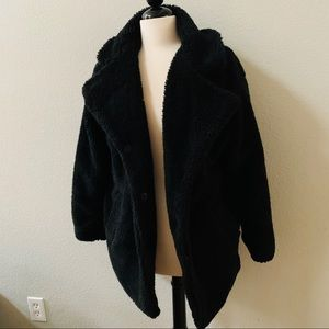 Jason Maxwell black Longline Teddy Jacket coat M